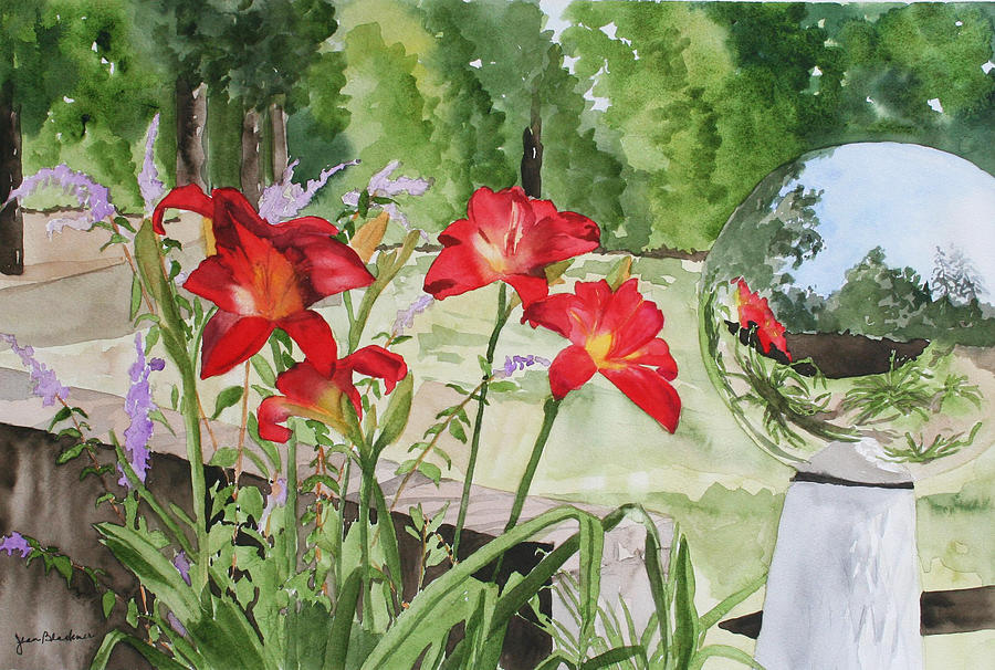 Flowers Painting - Blue Sky Reflections by Jean Blackmer