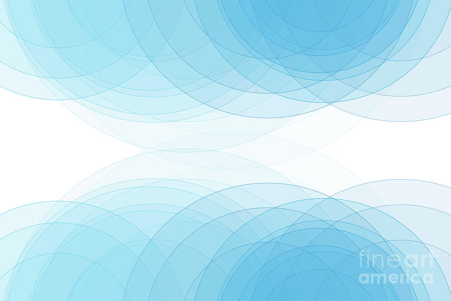 Abstract Digital Art - Blue Sky Semi Circle Background Horizontal by Frank Ramspott