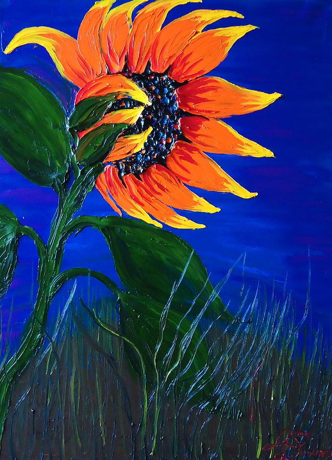 Blue Sky Sunflower 1 Painting by Dunbars Modern Art