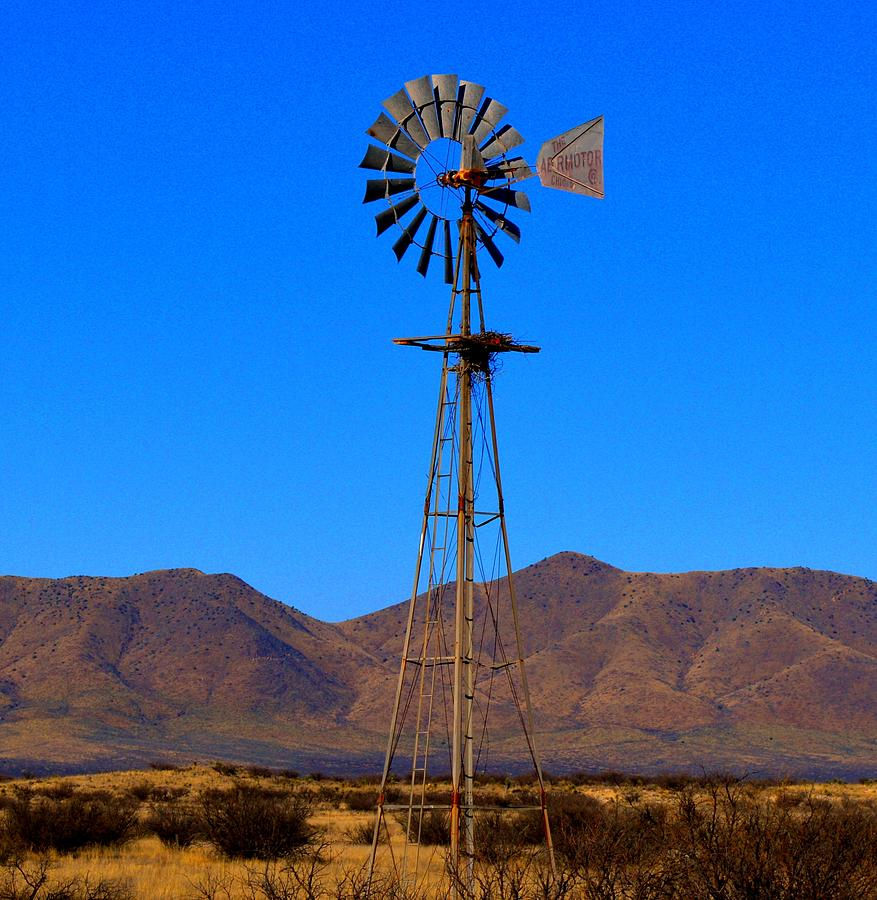 Landscape Photograph - Blue Sky Windmill by Brent Hall
