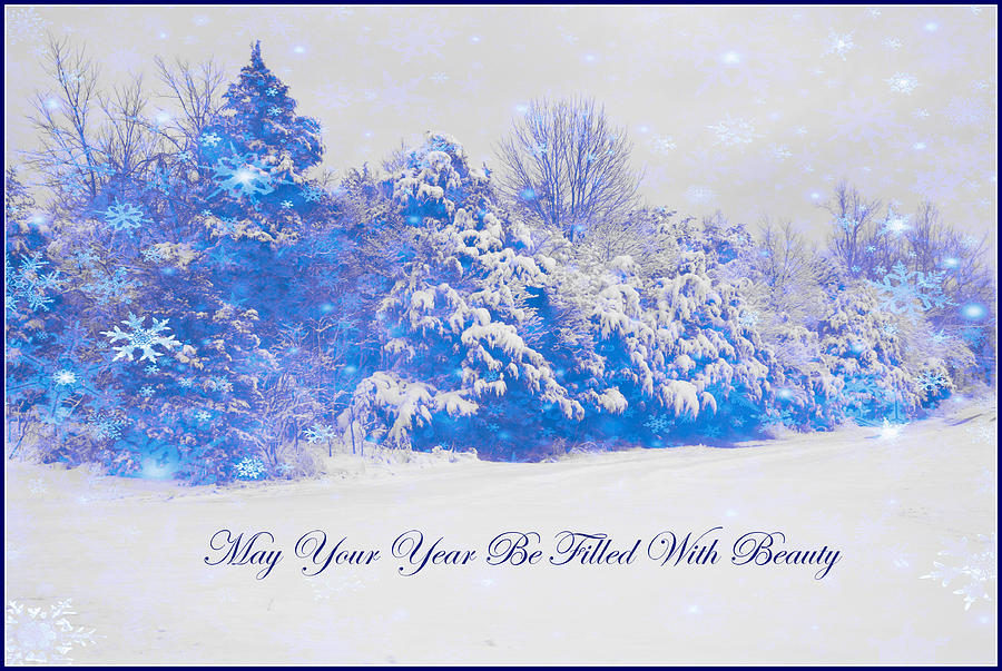 Christmas Card Photograph - Blue Snowy Christmas Scene by Angela Comperry