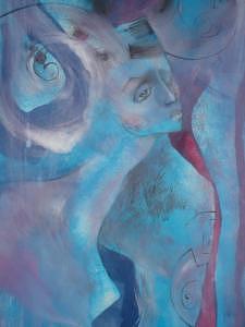 Nude Woman Painting - Blue by Sona  Yeghiazaryan