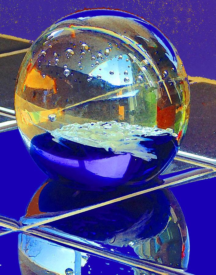 Glass Sphere Digital Art - Blue Sphere by Jana Russon