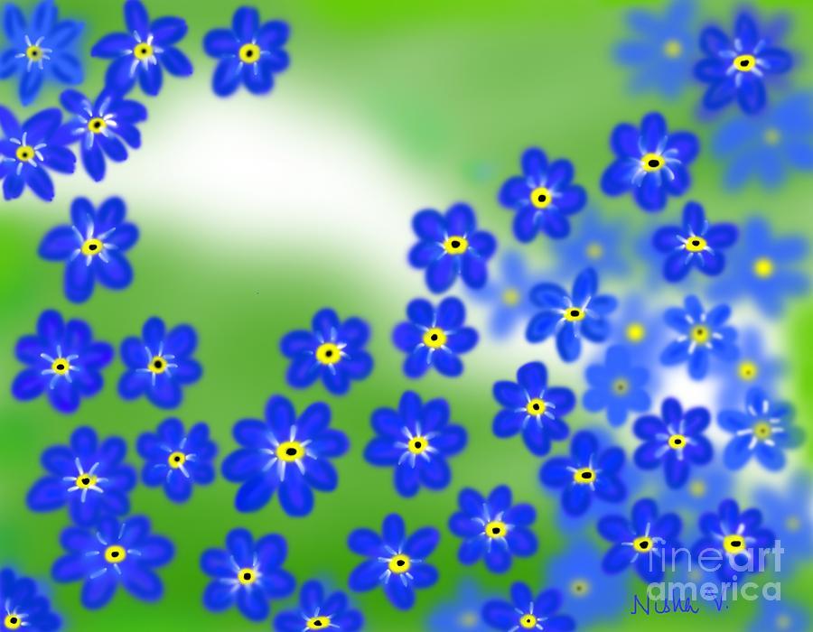 Spring flowers digital art by nisha verma blue spring flowers digital art by nisha verma mightylinksfo Choice Image