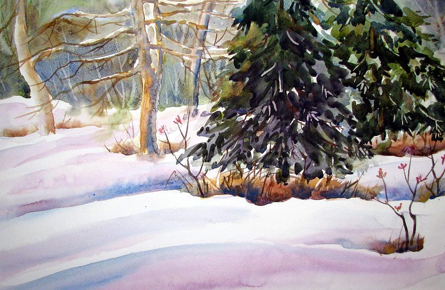Watercolor Painting - Blue Spruce by Chito Gonzaga