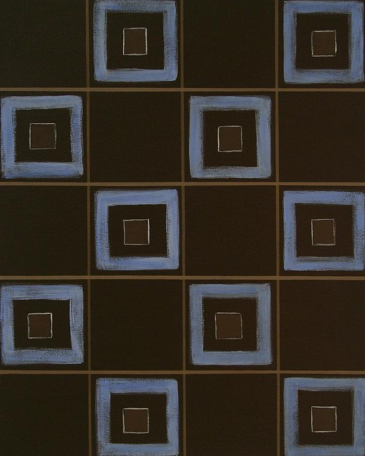 Contemporary Painting - Blue Squares by Sandy Bostelman