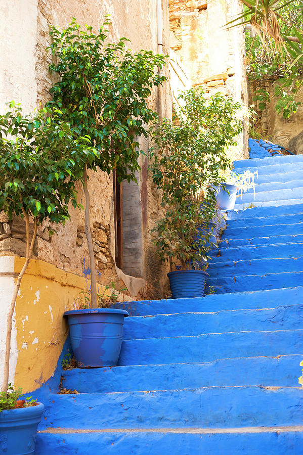 Stairs Photograph - Blue Stairs by Anna Kluba