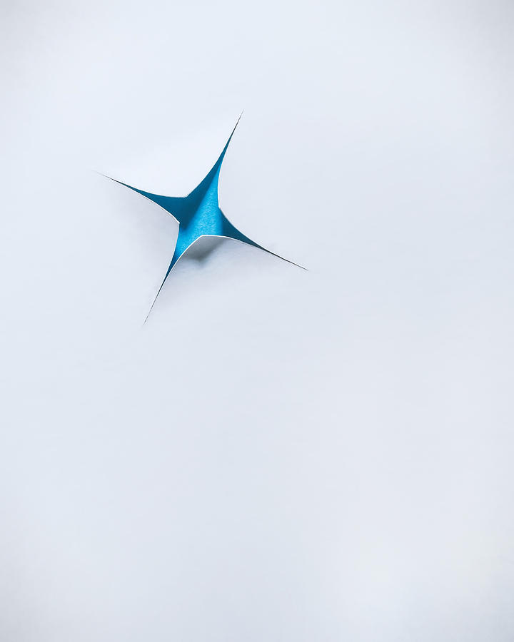 Blue Star On White Photograph
