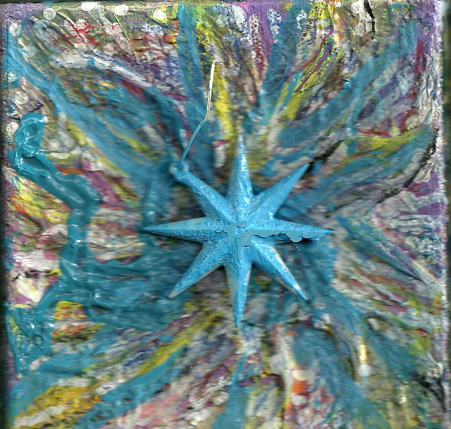 Blue Mixed Media - Blue Star Shining At Me by Anne-Elizabeth Whiteway
