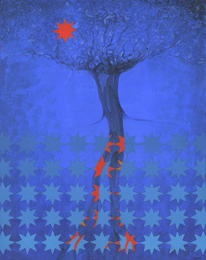 Shaman Painting - Blue Star Tree by Nicholas Breeze Wood
