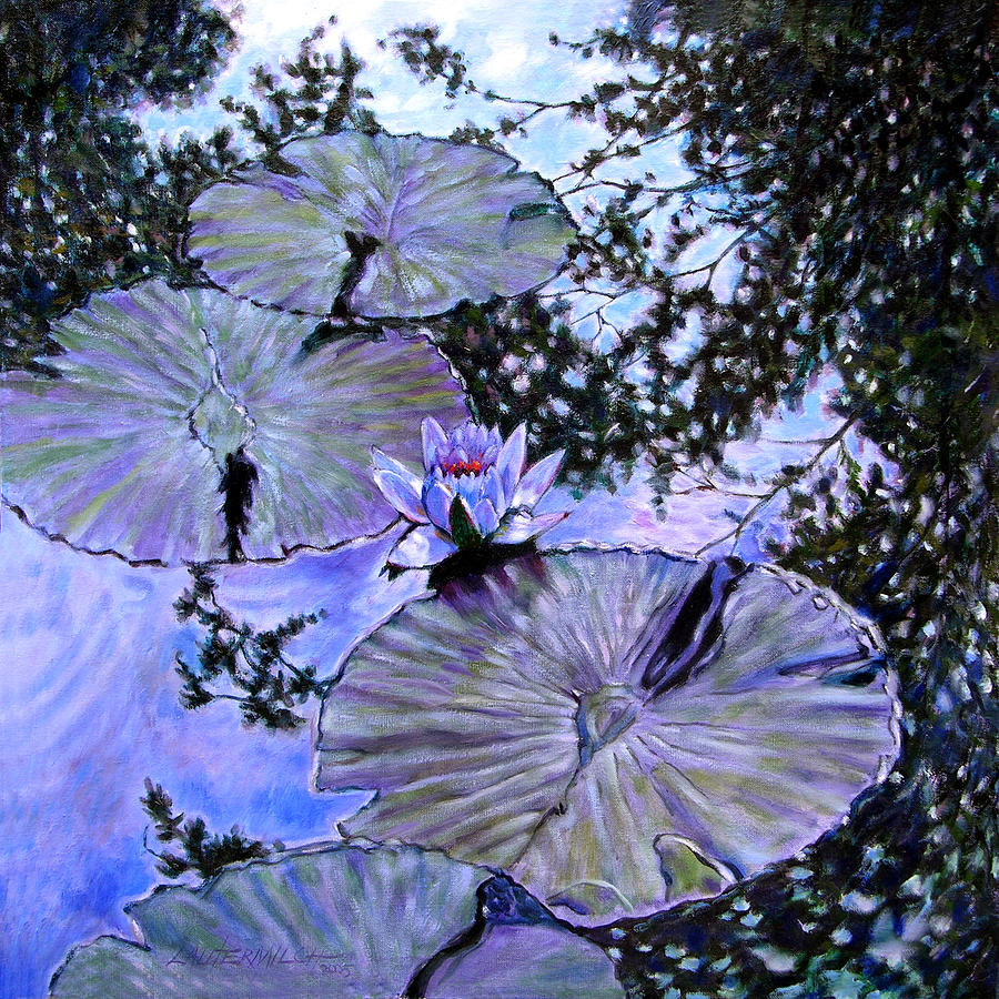 Water Lily Painting - Blue Stillness by John Lautermilch