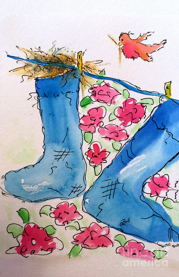 Stockings Painting - Blue Stockings by Claire Bull