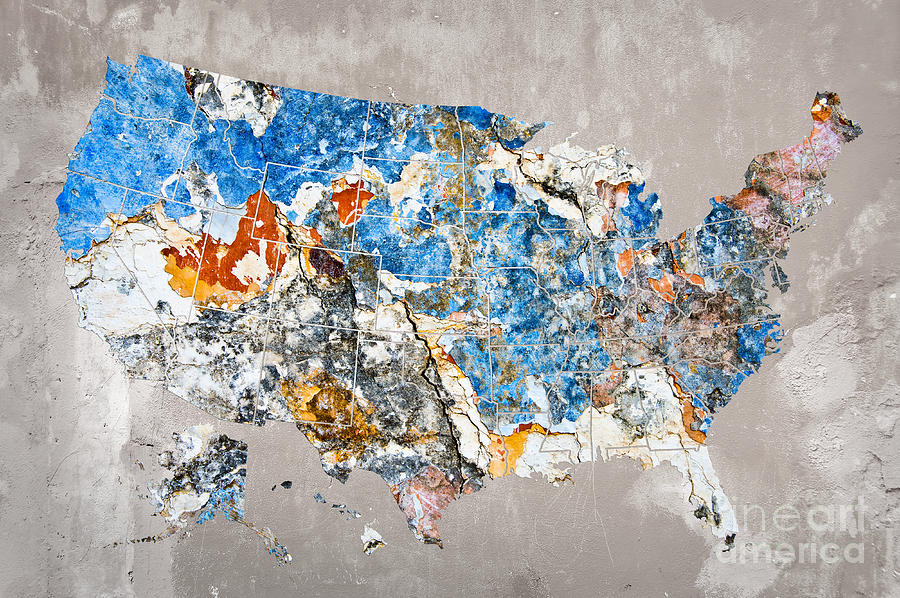 Us Map Artwork.Blue Street Art Us Map Photograph By Delphimages Photo Creations