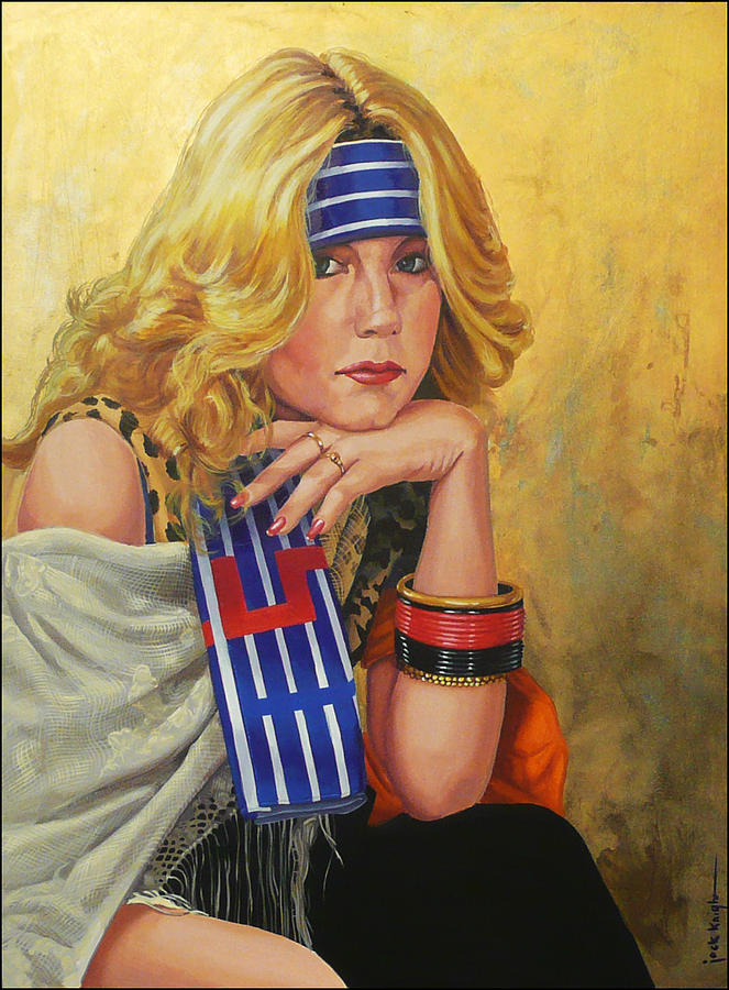 Woman Painting - Blue Striped Bandana by Jack Knight