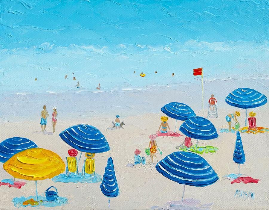 Beach Painting - Blue Striped Umbrellas by Jan Matson