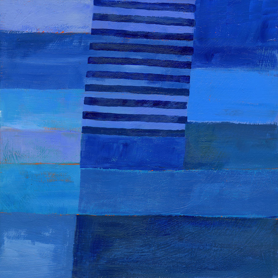 Color Painting - Blue Stripes 7 by Jane Davies