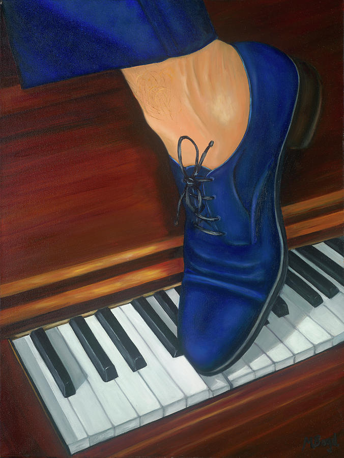 Piano Painting - Blue Suede Shoes by Marlyn Boyd