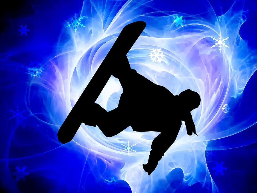 Snowboard Painting - Blue Swirl Snowstorm by Elaine Plesser