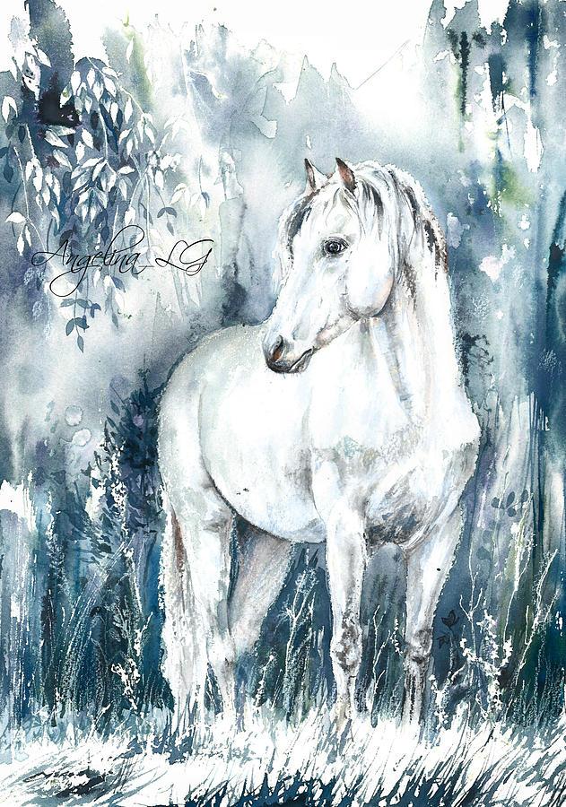 White Painting - Blue Symphony by Angelina Ligomina