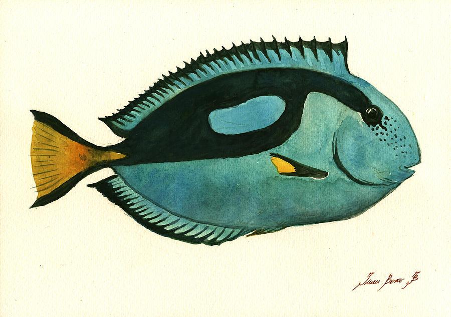 Blue Tang Fish Painting - Blue Tang Fish by Juan Bosco