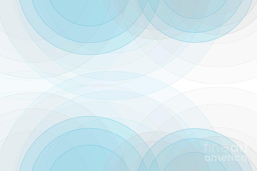 Abstract Digital Art - Blue Tec Semi Circle Background Horizontal by Frank Ramspott