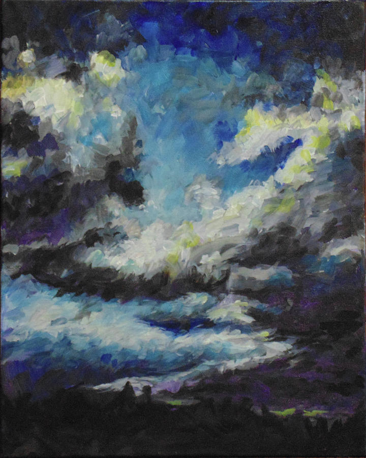 Silhouette Painting - Blue Tempest by Susan Moore