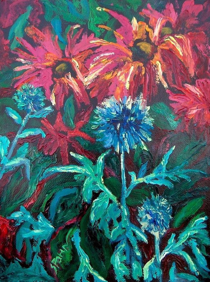 Red Painting - Blue Thistle And Bee Balm by Susan  Spohn