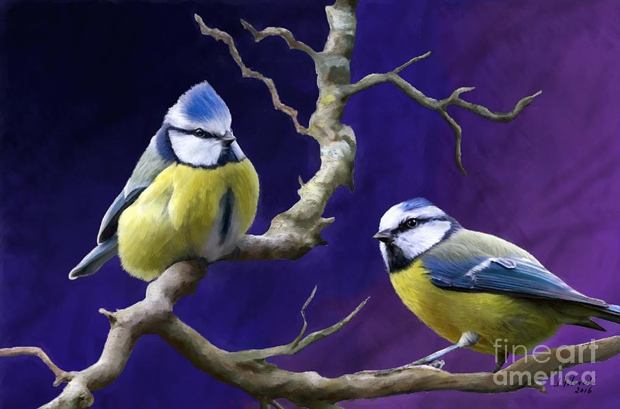 Titmouse Painting - Blue Titmouse by Judy Filarecki
