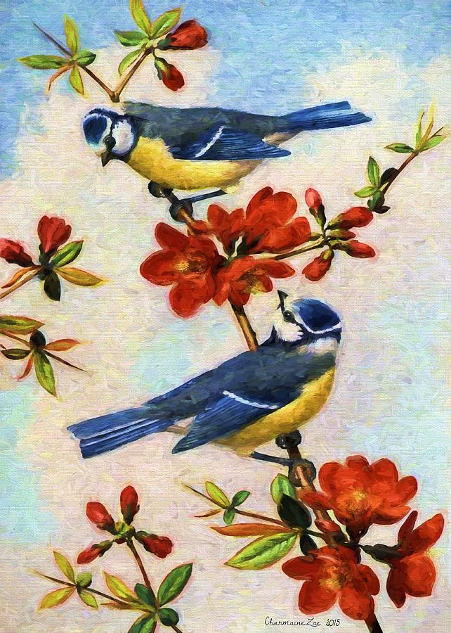 Blue Tits on Quince Flowers by Charmaine Zoe