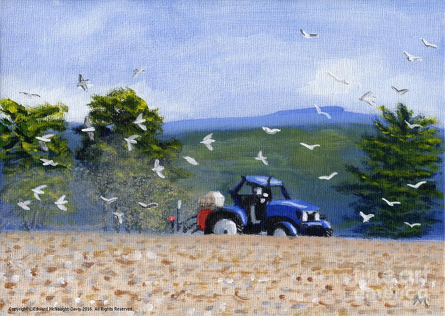 Painting Blue Tractor Ploughing Field Lampeter Ceredigion Wales by Edward McNaught-Davis