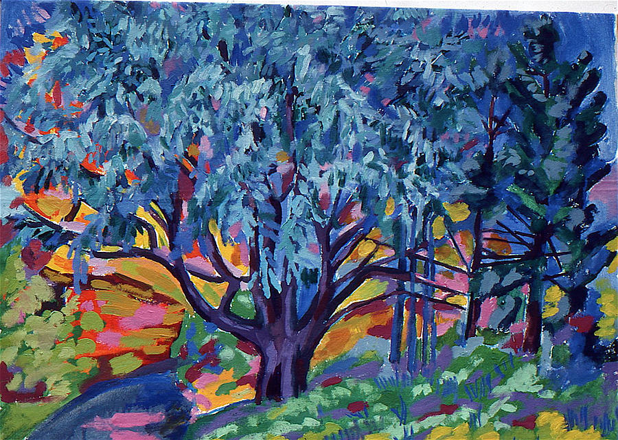 Landscape Painting - Blue Tree Far Country by Doris  Lane Grey