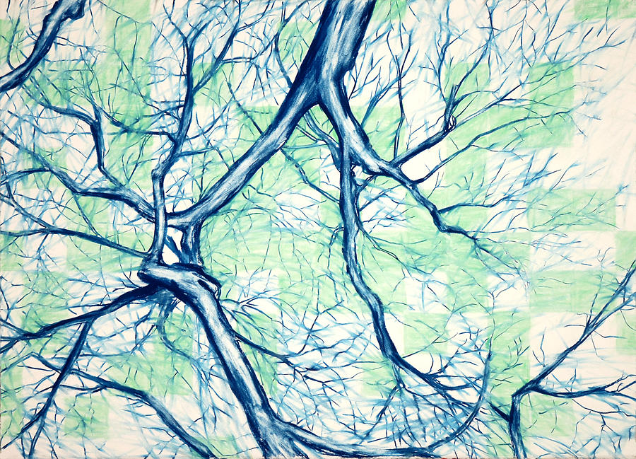 Tree Painting - Blue Tree With Green Sky by John Terwilliger