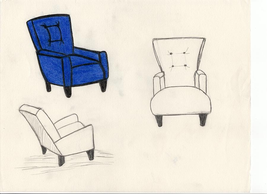 chair design drawing. Blue Drawing - Tufted Chair Design By Allison Stafford