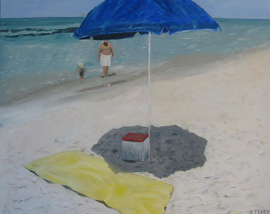 Seascape Painting - Blue Umbrella by John Terry