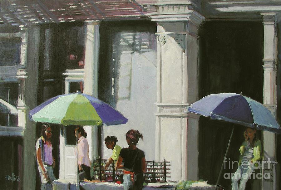 City Painting - Blue Umbrellas by Patti Mollica