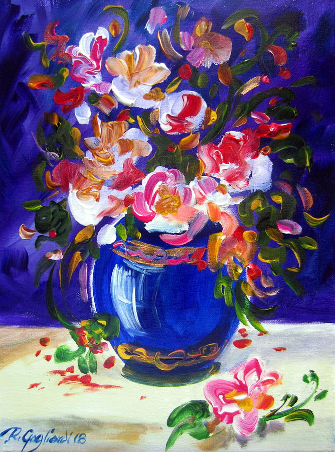 BLUE VASE AND FRESH FLOWERS by Roberto Gagliardi