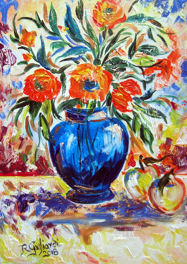 Blue Vase Flowers and apples by Roberto Gagliardi