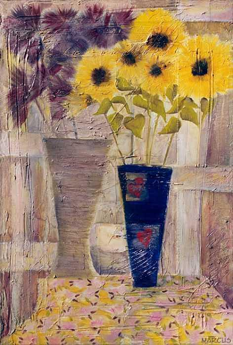 Blue Vase I Painting by Leslie Marcus
