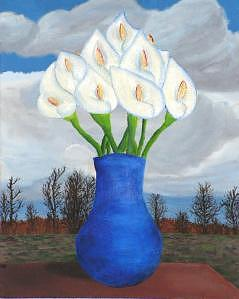 Flowers Painting - Blue Vase With Calla Lillies by Michael Montgomery