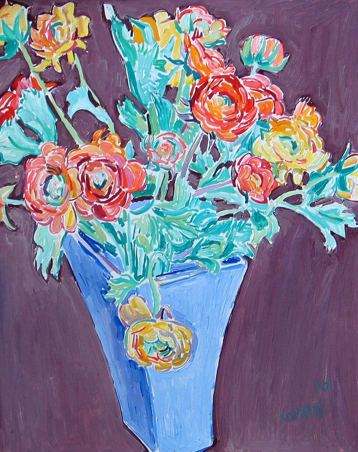 Blue Painting - Blue Vase With Flowers by Vitali Komarov