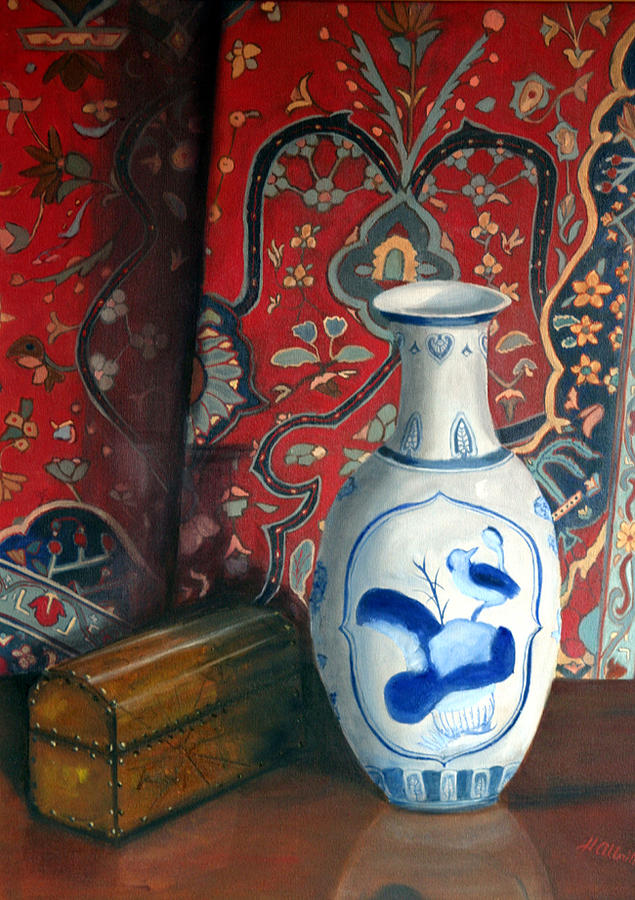 Blue Vase With Oriental Rug Painting by Helen Albritton