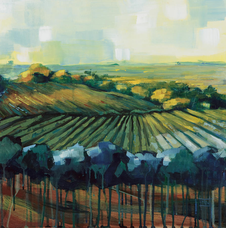 Landscape Painting - Blue Vineyard by Michele Norris