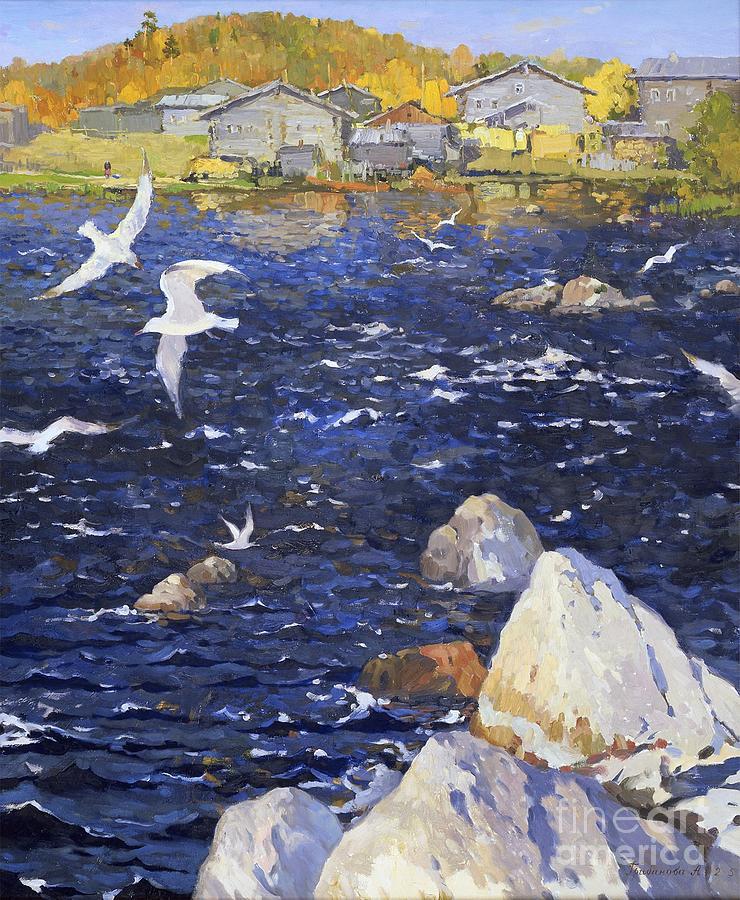 Landscape Painting - Blue Water by Anna Ankudinova