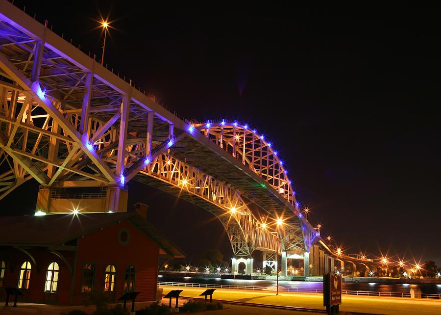 Port Huron Digital Art - Blue Water Bridge At Night by Paul Bartoszek