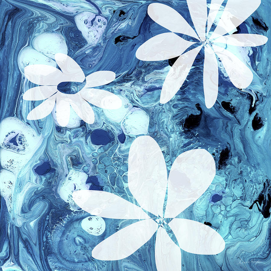 Blue water flowers art by linda woods mixed media by linda woods indigo mixed media blue water flowers art by linda woods by linda woods izmirmasajfo