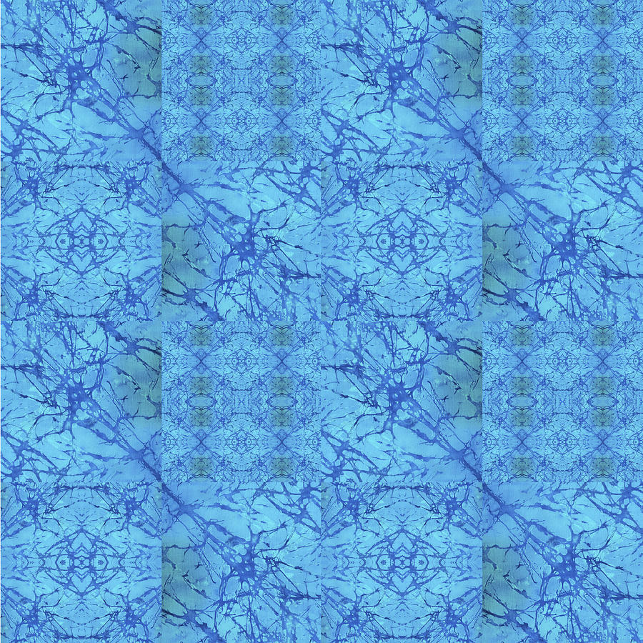 Blue Painting - Blue Water Patchwork by Sue Duda