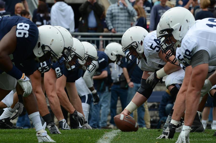 Psu Photograph - Blue White Penn State Football by Michael Misciagno