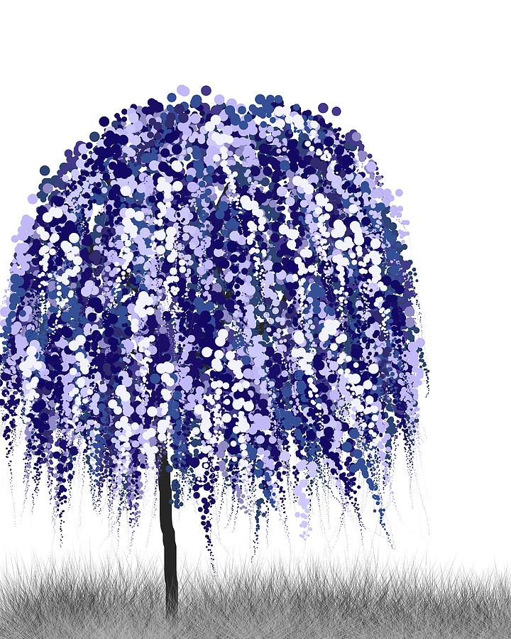 Blue Willow Tree Digital Art By Teri Martin