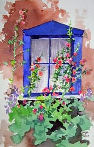 Blue Window Painting by Barbara Elmslie
