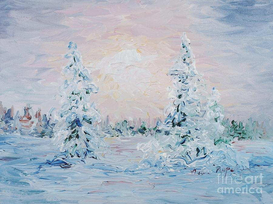 Landscape Painting - Blue Winter by Nadine Rippelmeyer